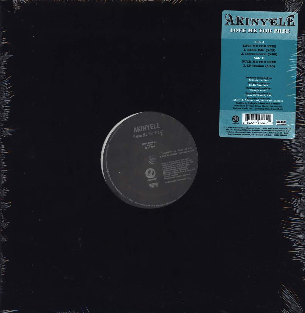 "Akinyele: Love Me For Free, 12"" Maxi Single (Vinyl)"