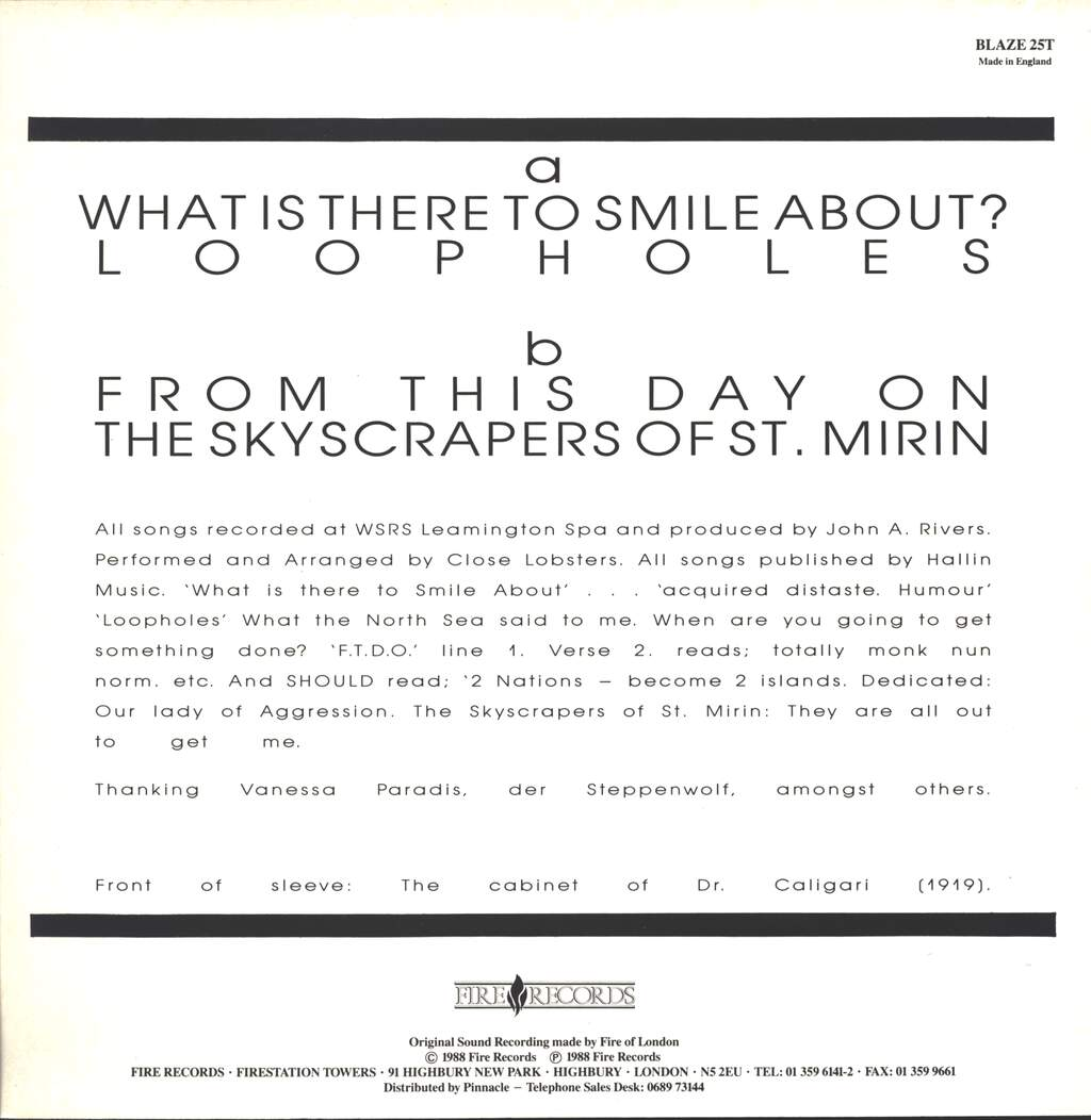 "Close Lobsters: What Is There To Smile About?, 12"" Maxi Single (Vinyl)"
