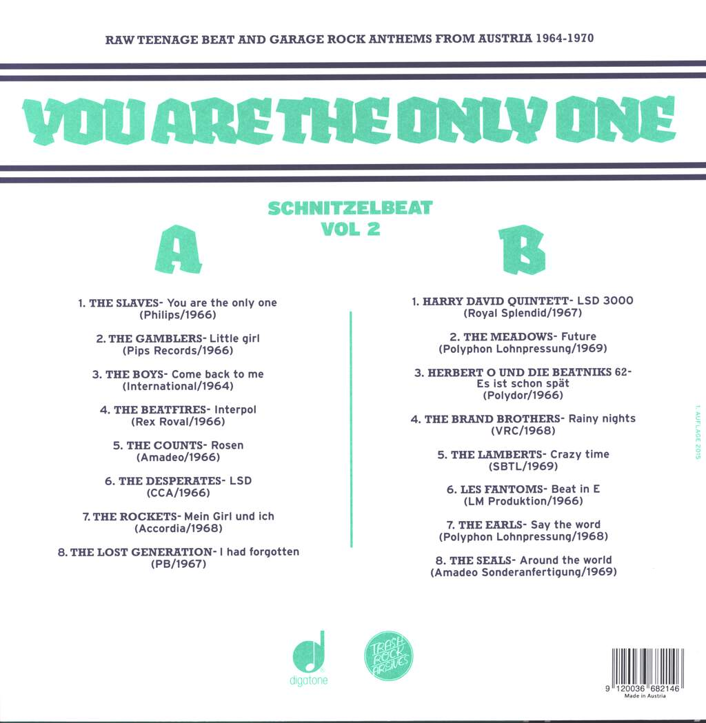 Various: Schnitzelbeat Volume 2 - You Are The Only One (Raw Teenage Beat & Garage Rock Anthems From Austria 1964-1970), LP (Vinyl)