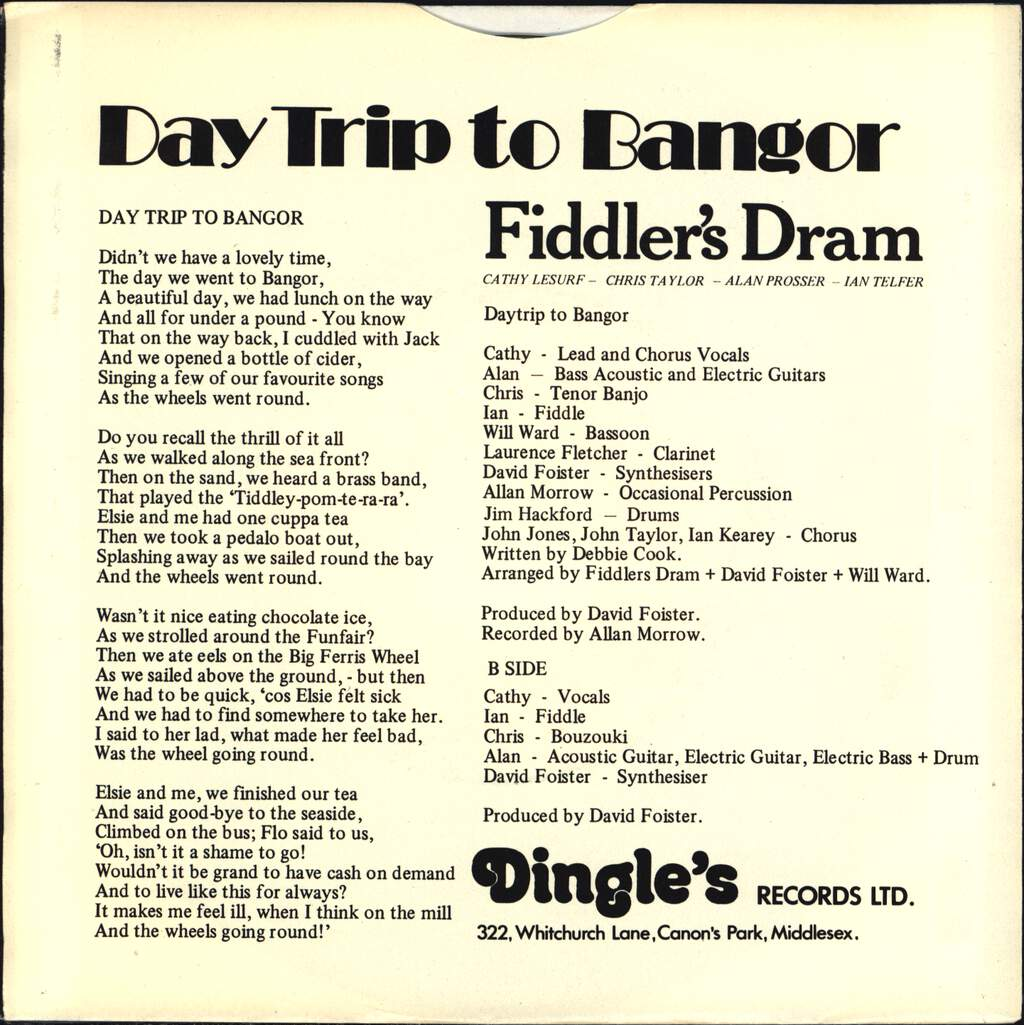 "Fiddler's Dram: Daytrip To Bangor (Didn't We Have A Lovely Time), 7"" Single (Vinyl)"