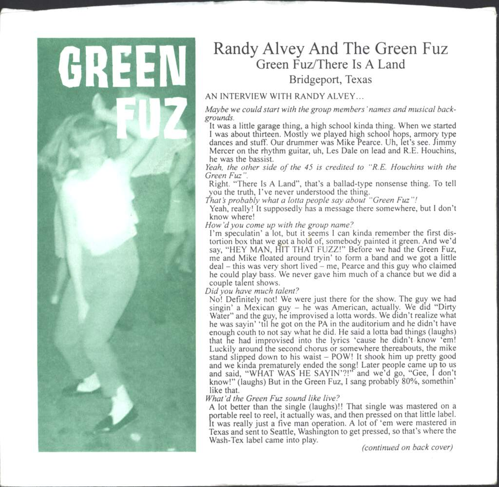 "The Green Fuz: Green Fuz / There Is A Land, 7"" Single (Vinyl)"