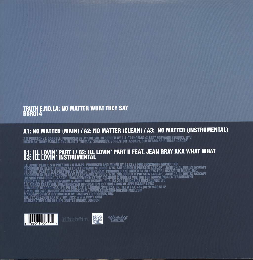 "Truth Enola: No Matter What They Say, 12"" Maxi Single (Vinyl)"