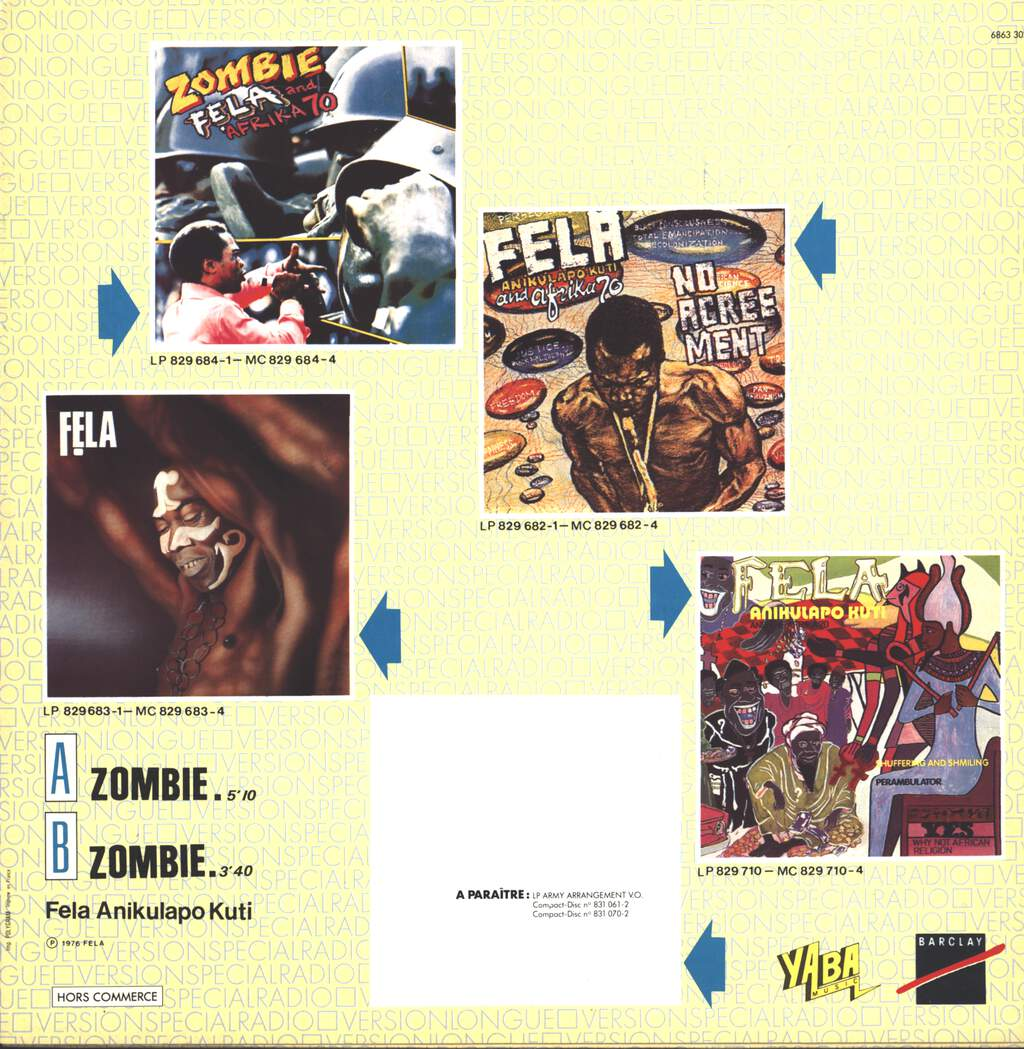 "Fela Kuti: Zombie, 12"" Maxi Single (Vinyl)"