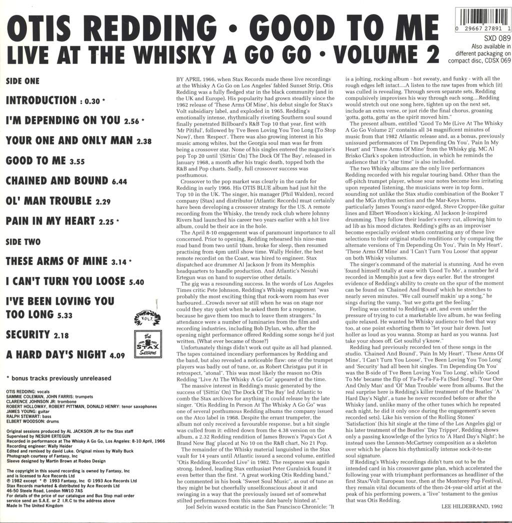 Otis Redding: Good To Me - Live At The Whisky A Go Go - Volume 2, LP (Vinyl)