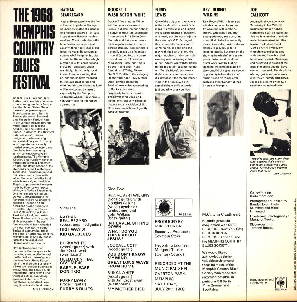 Bukka White: The  1968 Memphis Country Blues Festival, LP (Vinyl)