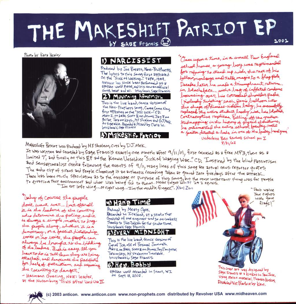 "Sage Francis: The Makeshift Patriot EP, 12"" Maxi Single (Vinyl)"