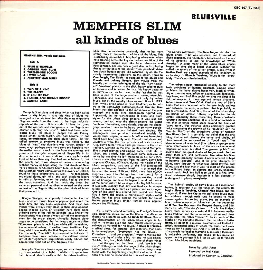 Memphis Slim: All Kinds Of Blues, LP (Vinyl)