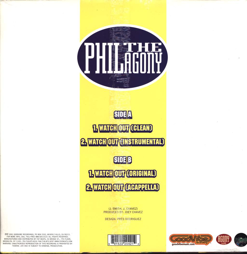 "Phil Da Agony: Watch Out, 12"" Maxi Single (Vinyl)"