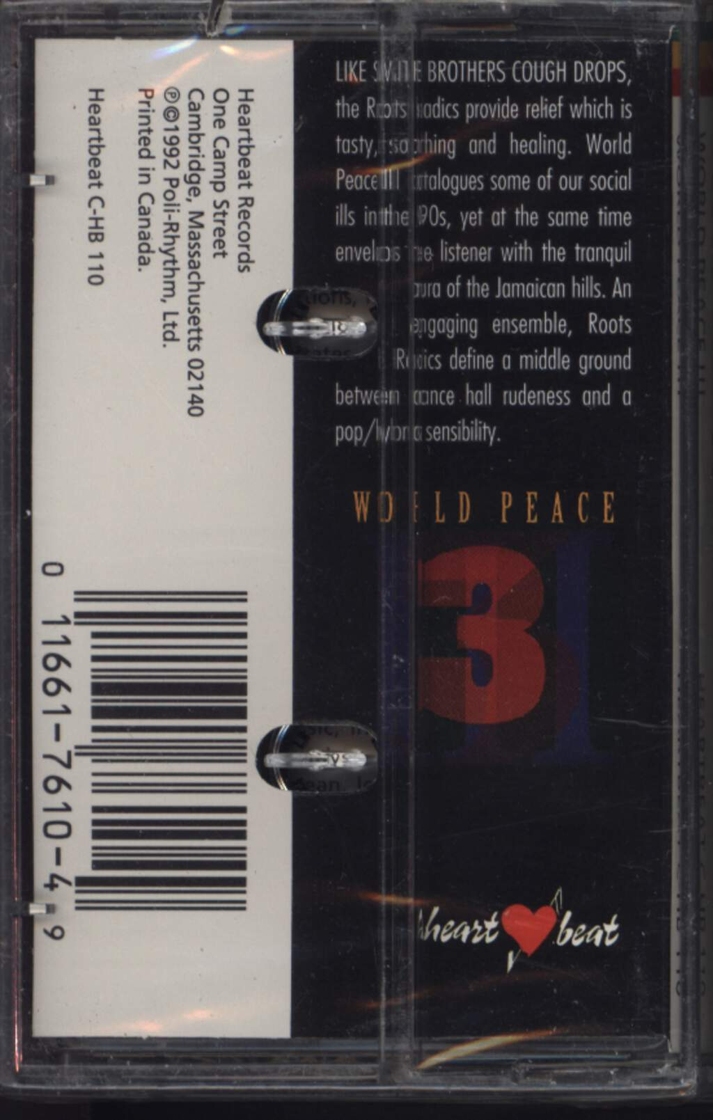 The Roots Radics: World Peace Three, Compact Cassette