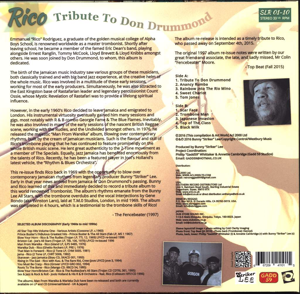Rico Rodriguez: Tribute To Don Drummond, LP (Vinyl)