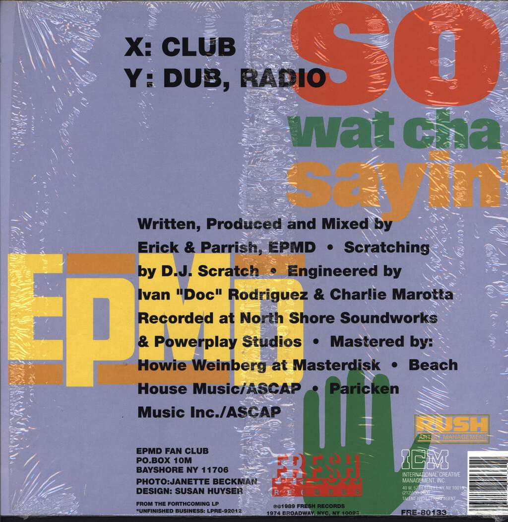 "Epmd: So Wat Cha Sayin', 12"" Maxi Single (Vinyl)"