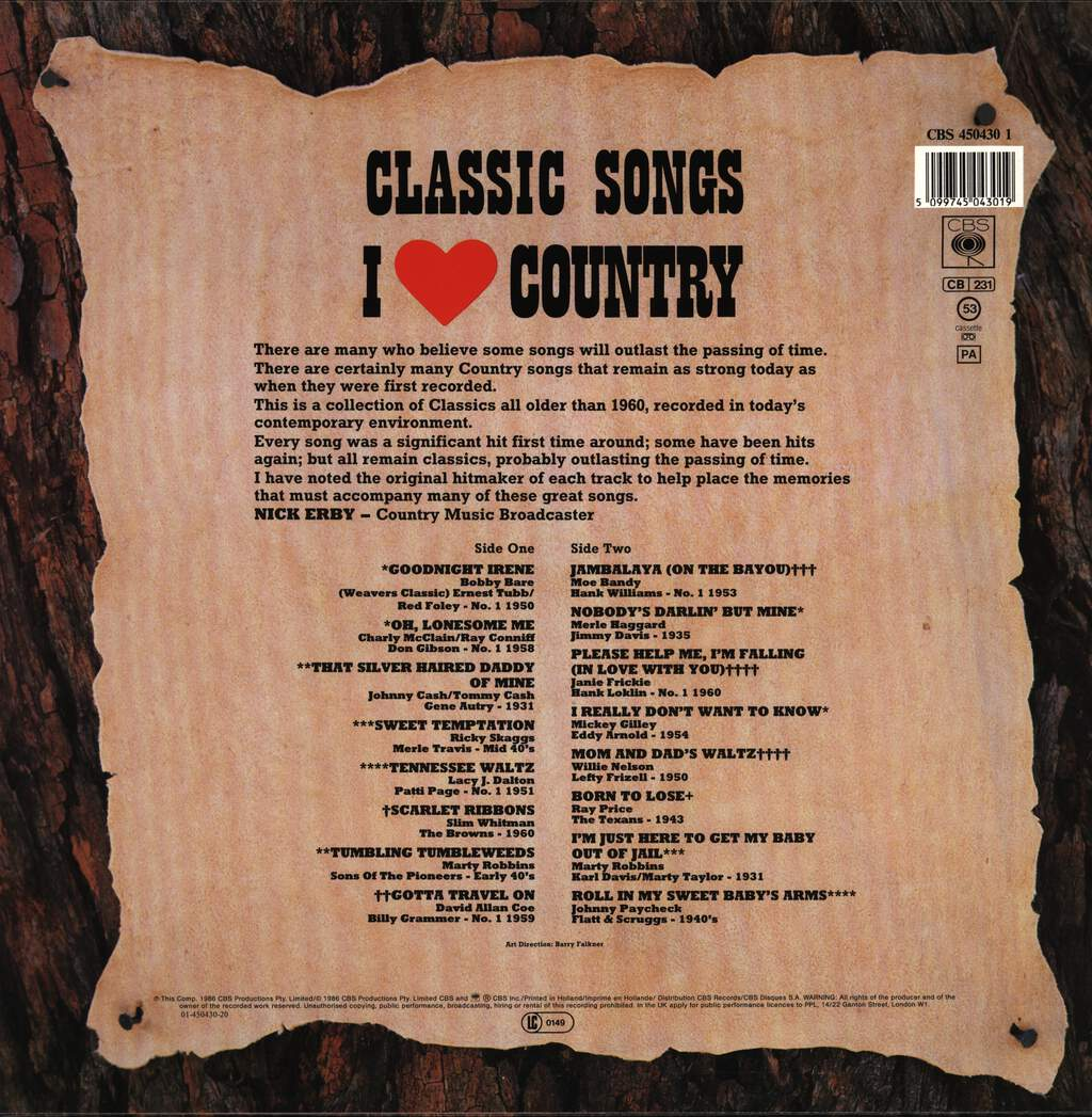 Various: Classic Songs - I Love Country, LP (Vinyl)