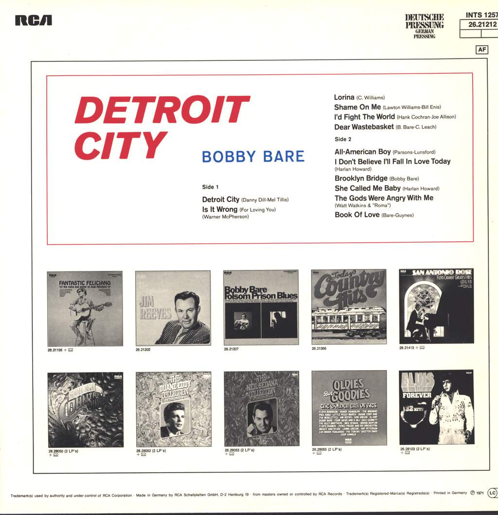 Bobby Bare: Detroit City, LP (Vinyl)