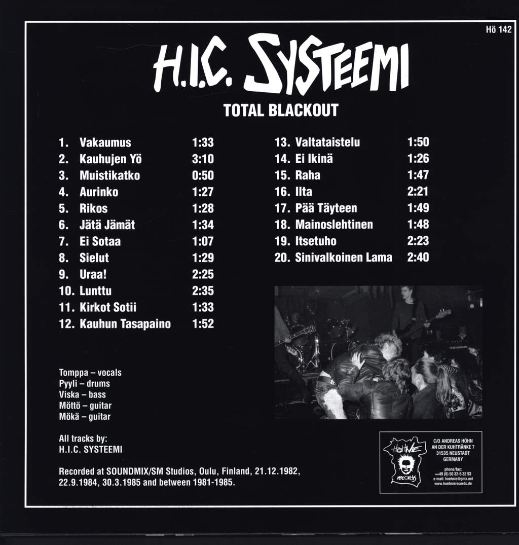 H.I.C. Systeemi: Total Blackout, LP (Vinyl)