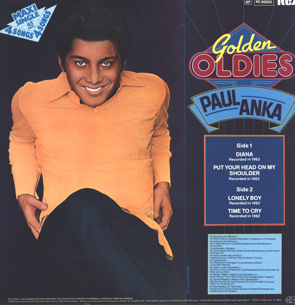 "Paul Anka: Golden Oldies, 12"" Maxi Single (Vinyl)"