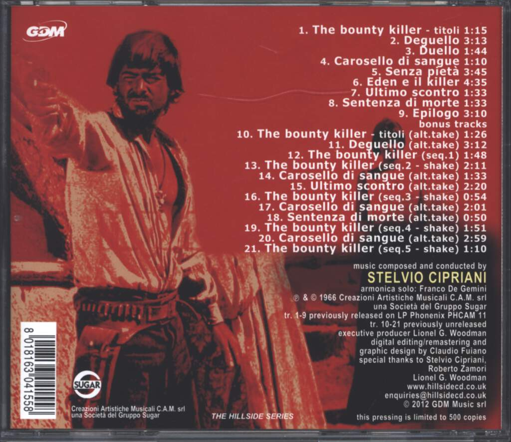 Stelvio Cipriani: The Bounty Killer (The Ugly Ones) (Original Motion Picture Soundtrack / The First Movie Score By Stelvio Cipriani), CD
