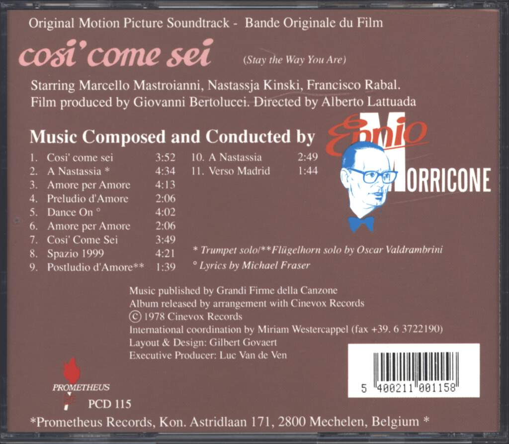 Ennio Morricone: Così Come Sei (Original Soundtrack), CD