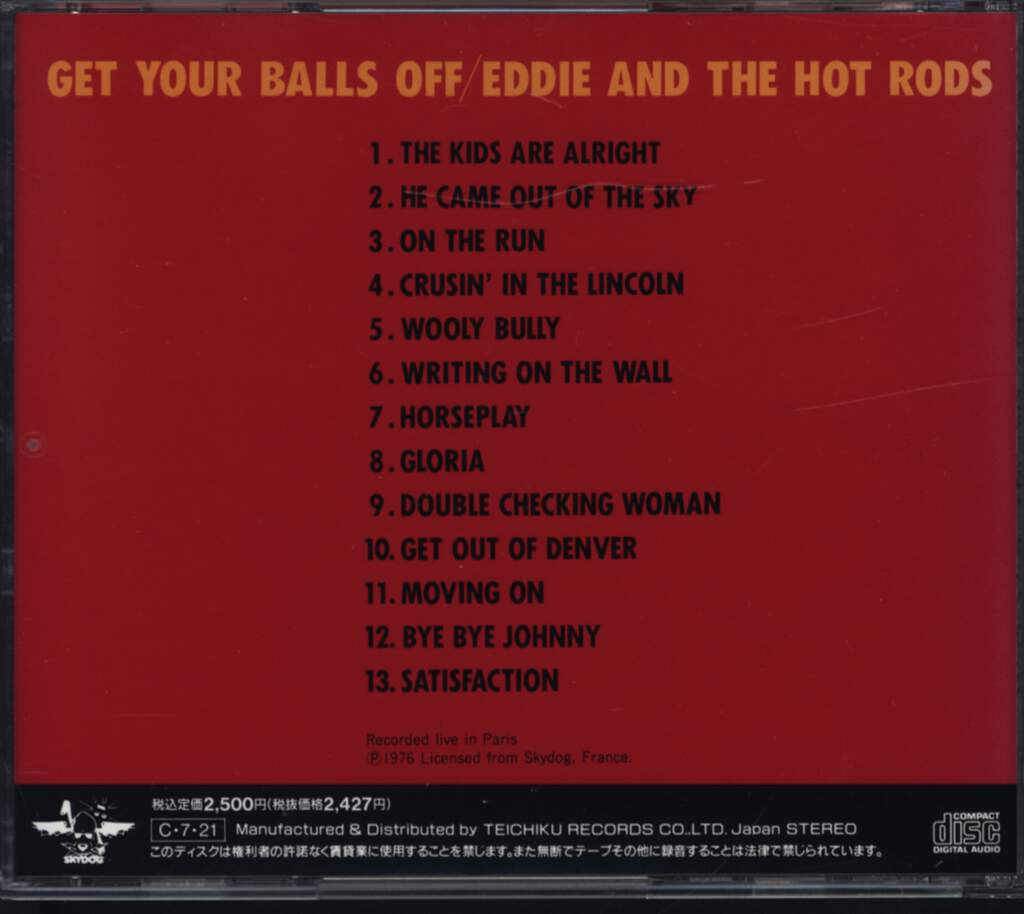 Eddie And The Hot Rods: Get Your Balls Off, CD