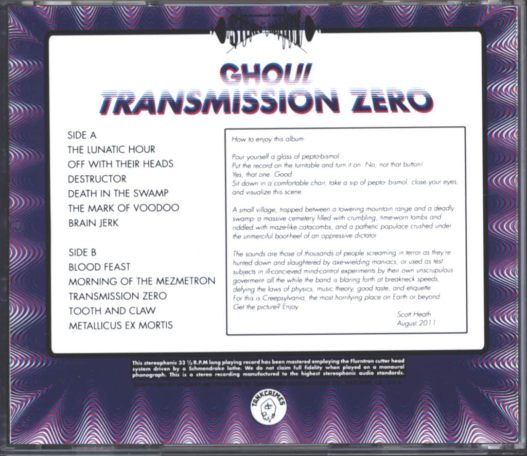 Ghoul: Transmission Zero, CD
