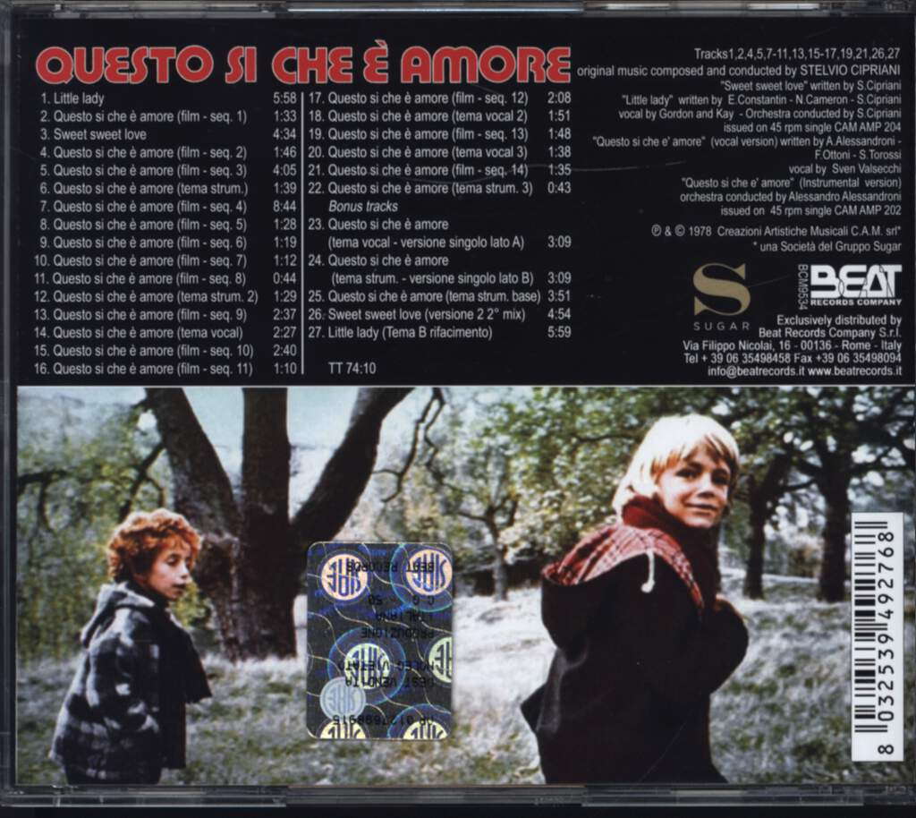 Stelvio Cipriani: Questo Si Che E' Amore (Original Motion Picture Soundtrack), CD