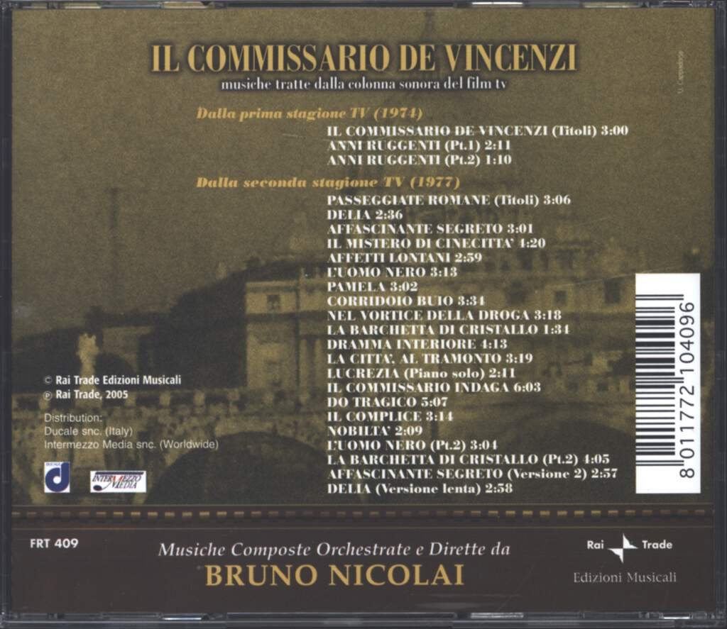 Bruno Nicolai: Il Commissario De Vincenzi, CD