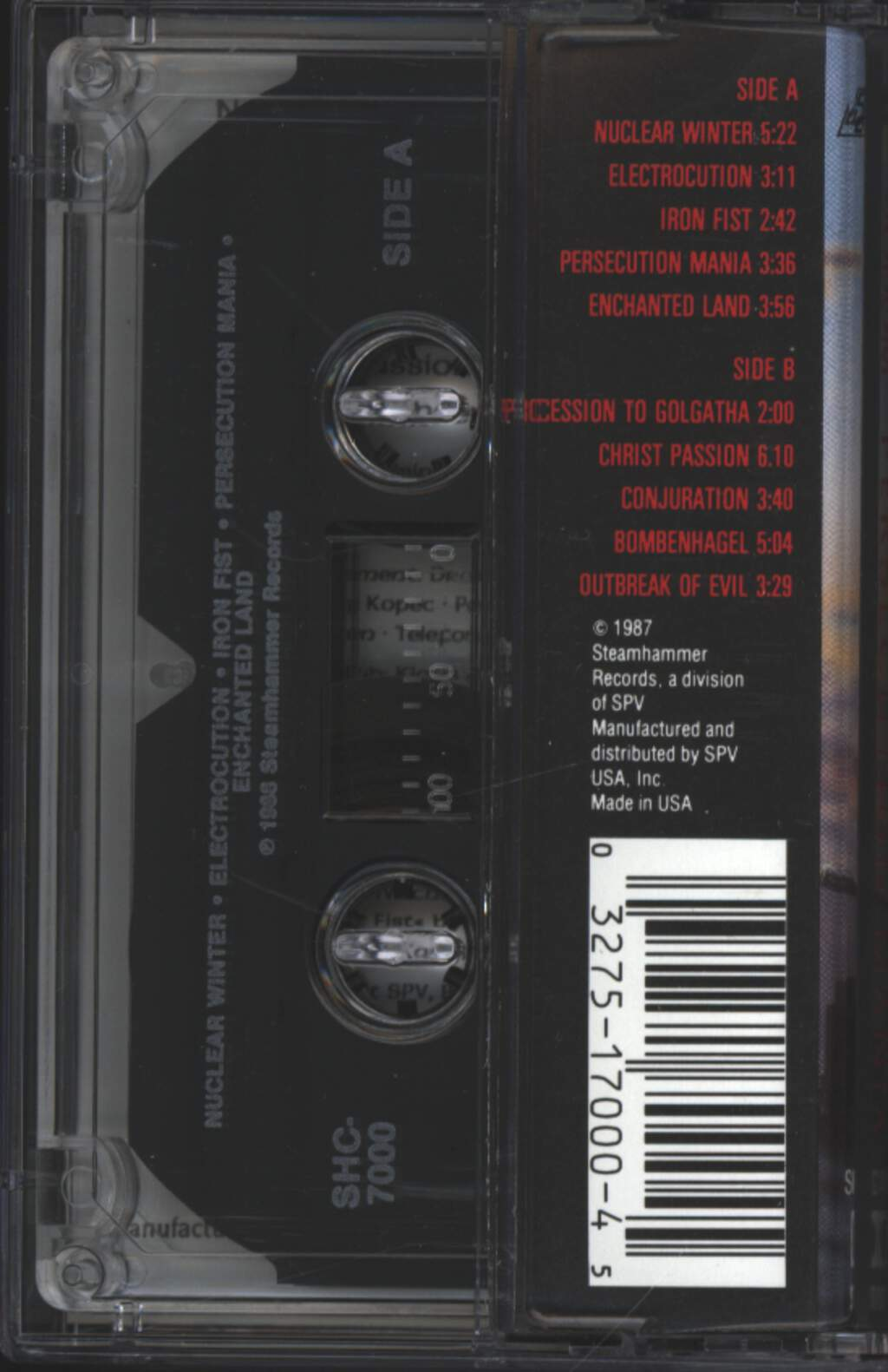 Sodom: Persecution Mania, Compact Cassette
