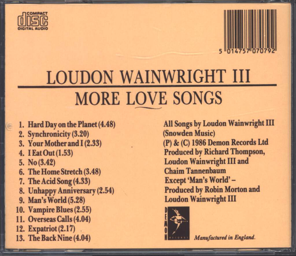 Loudon Wainwright III: More Love Songs, CD