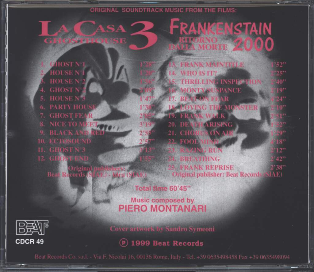 Piero Montanari: La Casa 3 - Ghosthouse / Frankenstein 2000, CD