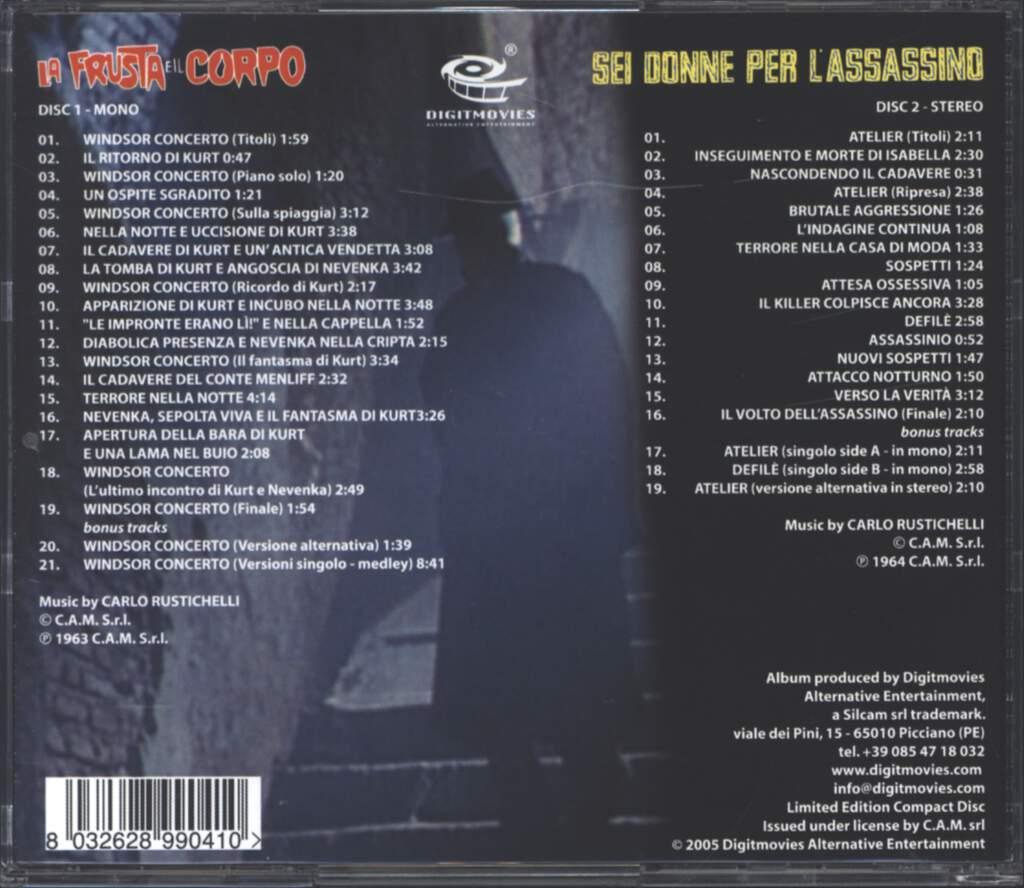 Carlo Rustichelli: La Frusta E Il Corpo / Sei Donne Per L'Assassino (Original Motion Picture Soundtracks / World Premiere Complete Recordings On Two Discs Set), CD