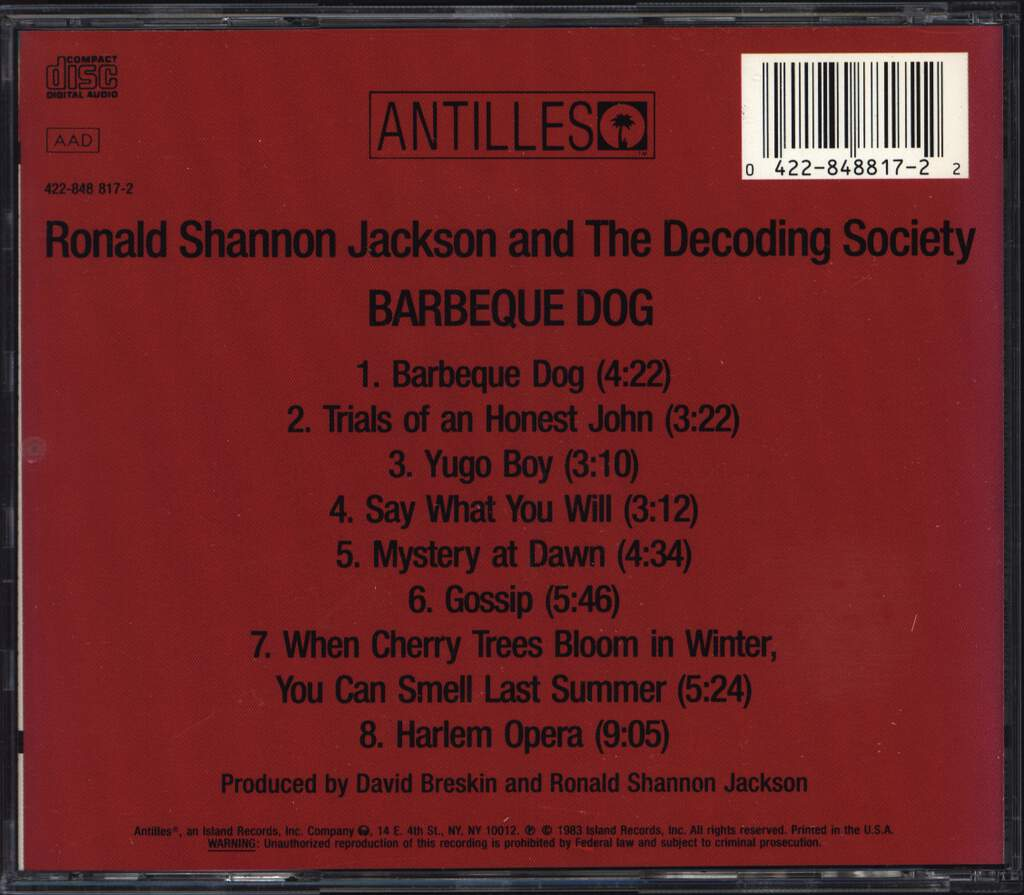 Ronald Shannon Jackson And The Decoding Society: Barbecue Dog, CD