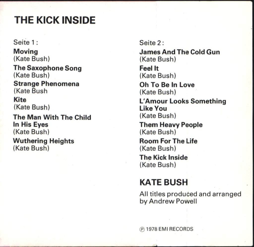 Kate Bush: The Kick Inside, Compact Cassette