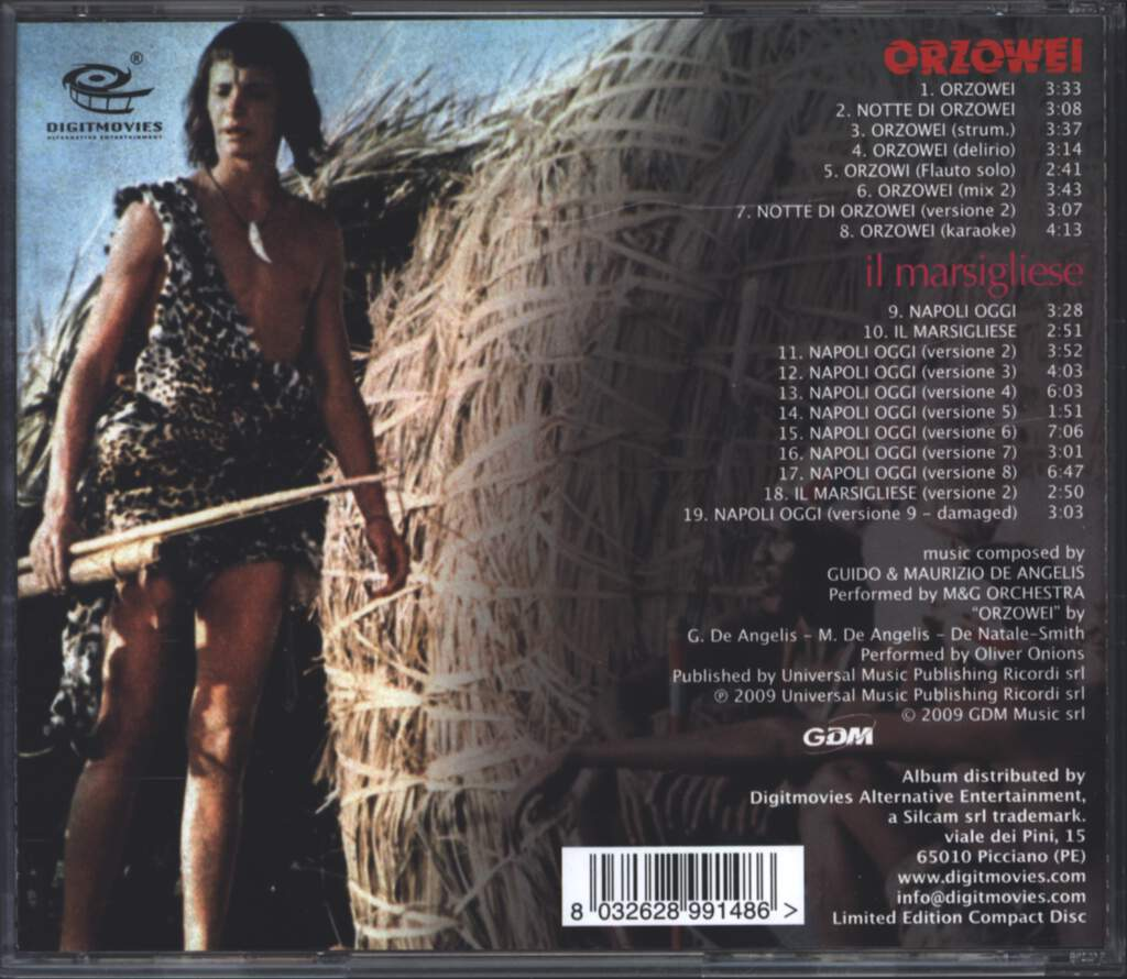 Guido And Maurizio De Angelis: Orzowei (Original Soundtrack Recording In Full Stereo) Also Including The OST In Full Stereo From Il Marsigliese, CD