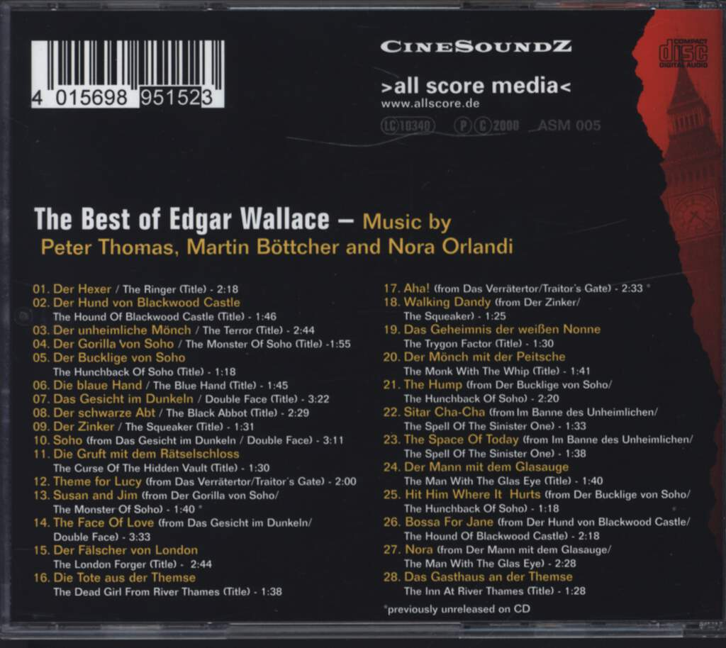 Peter Thomas: The Best Of Edgar Wallace (Original Music From The German Cult Thrillers By), CD
