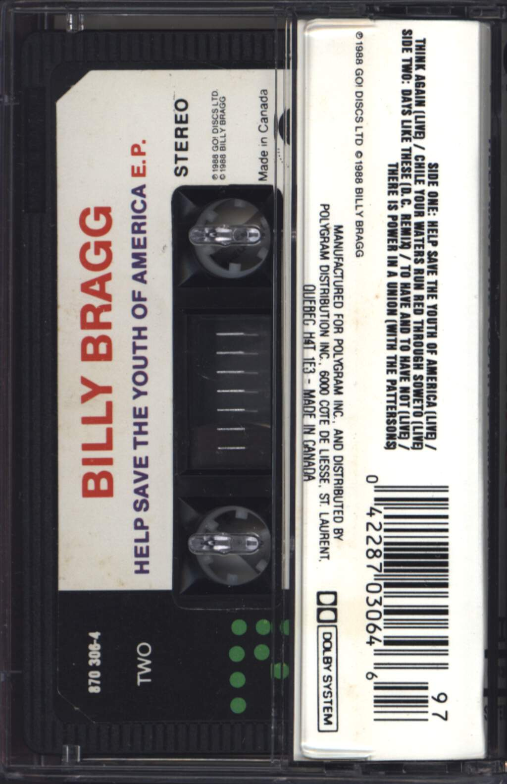 Billy Bragg: Help Save The Youth Of America EP: Live And Dubious, Compact Cassette