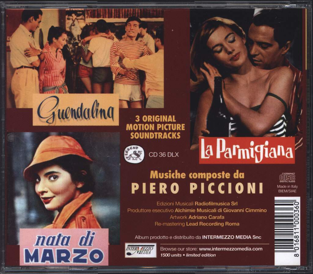 Piero Piccioni: 3 Original Motion Picture Soundtracks: Guendalina - Nata Di Marzo - La Parmigiana, CD