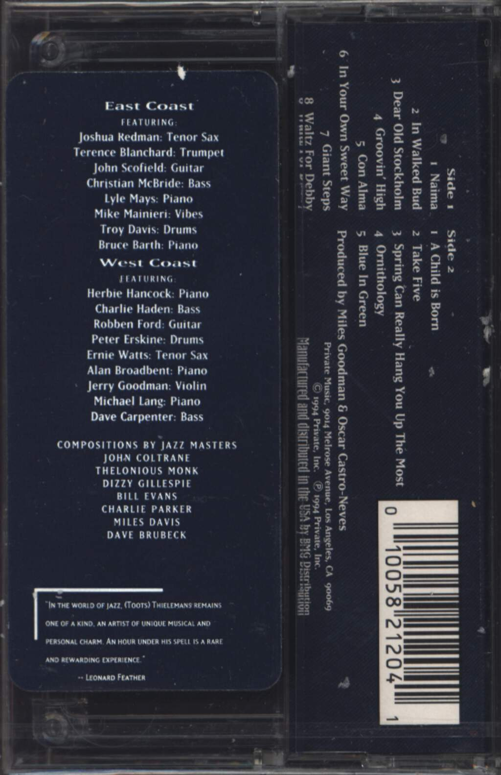 Toots Thielemans: East Coast West Coast, Compact Cassette
