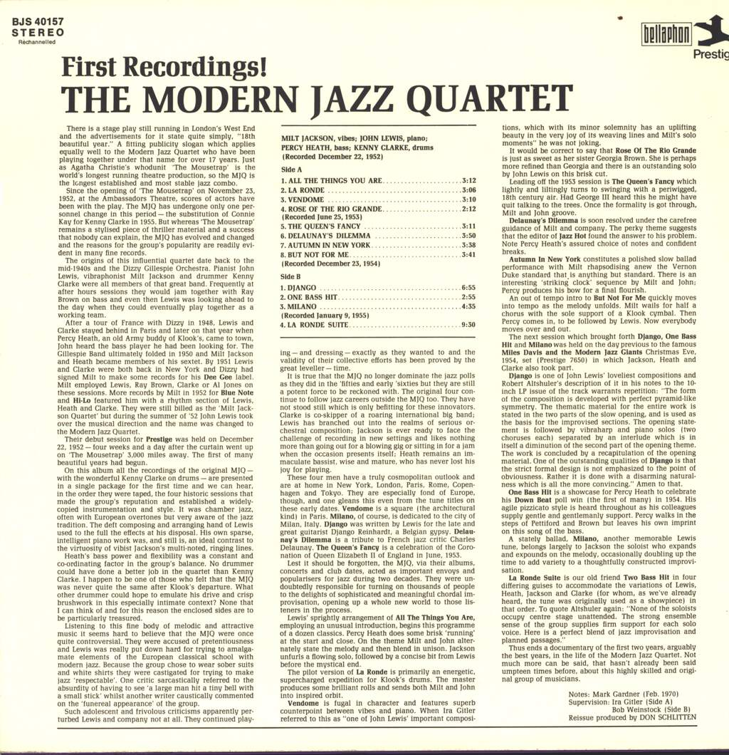 The Modern Jazz Quartet: First Recordings! (Original 1952 - 55 Recordings), LP (Vinyl)