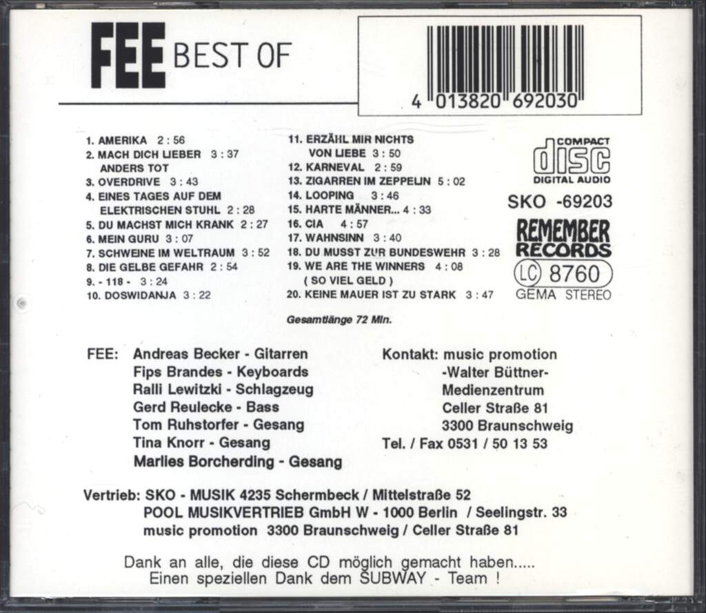 Fee: Best Of, CD