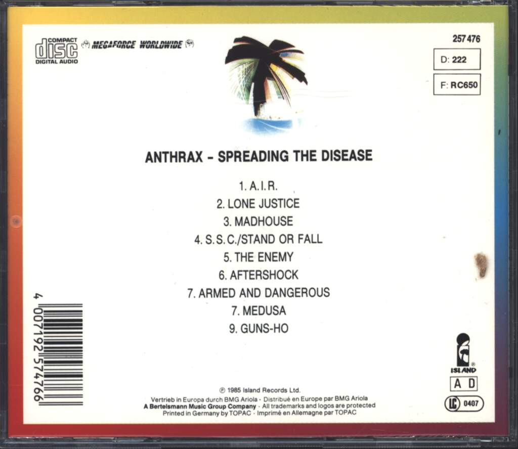 Anthrax: Spreading The Disease, CD