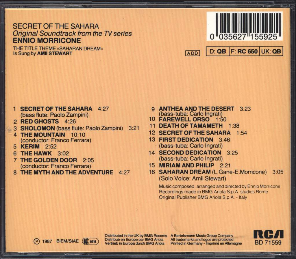 Ennio Morricone: Secret Of The Sahara (Original Soundtrack From The TV Series), CD