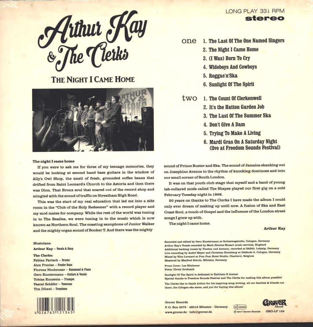 Arthur Kay: The Night I Came Home, LP (Vinyl)