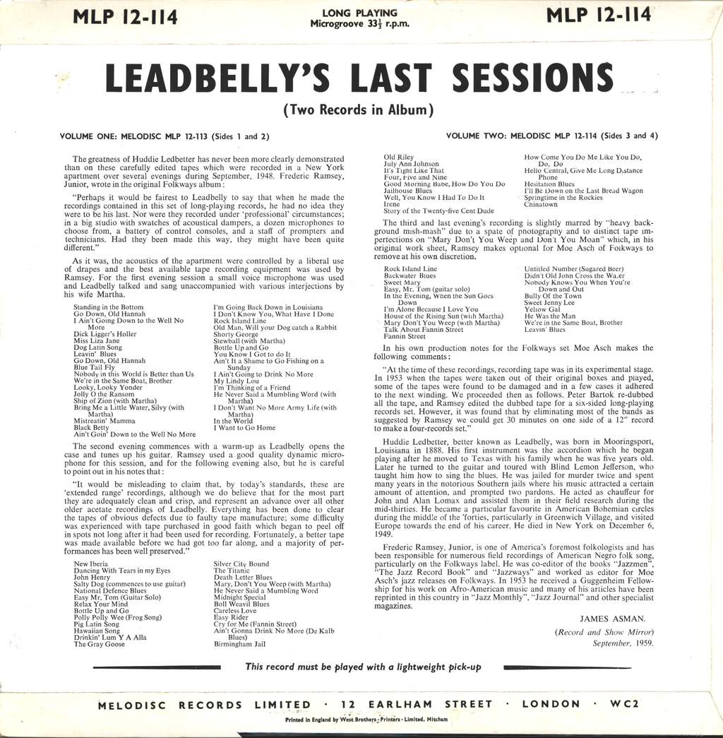 Leadbelly: Leadbelly's Last Sessions Vol. 2, LP (Vinyl)