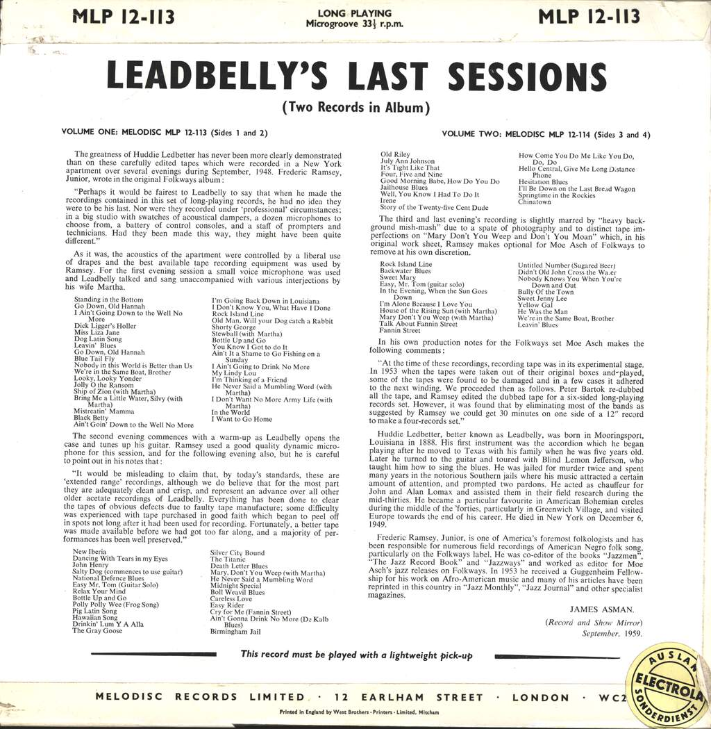 Leadbelly: Leadbelly's Last Sessions Vol. 1, LP (Vinyl)