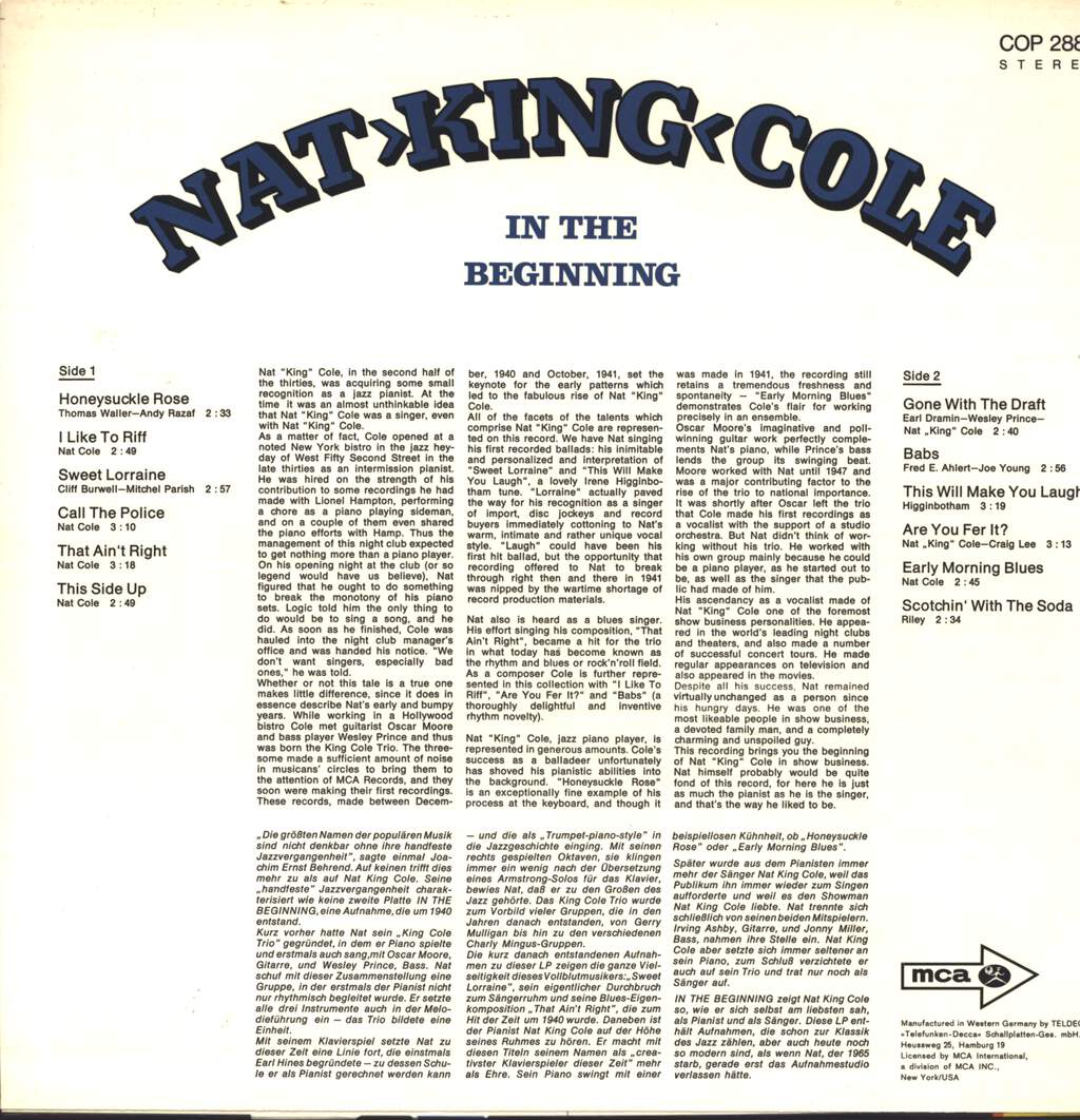 The Nat King Cole Trio: In The Beginning, LP (Vinyl)