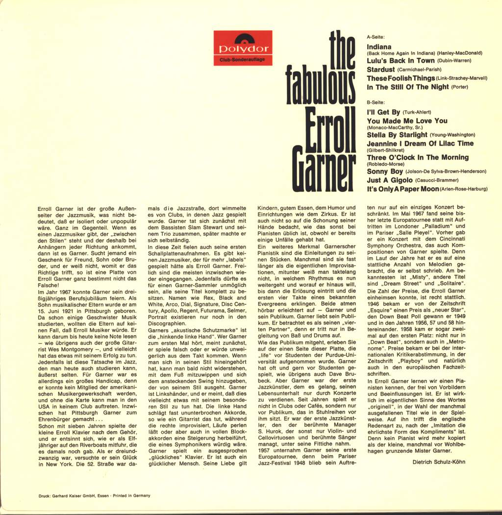 Erroll Garner: The Fabulous Erroll Garner, LP (Vinyl)