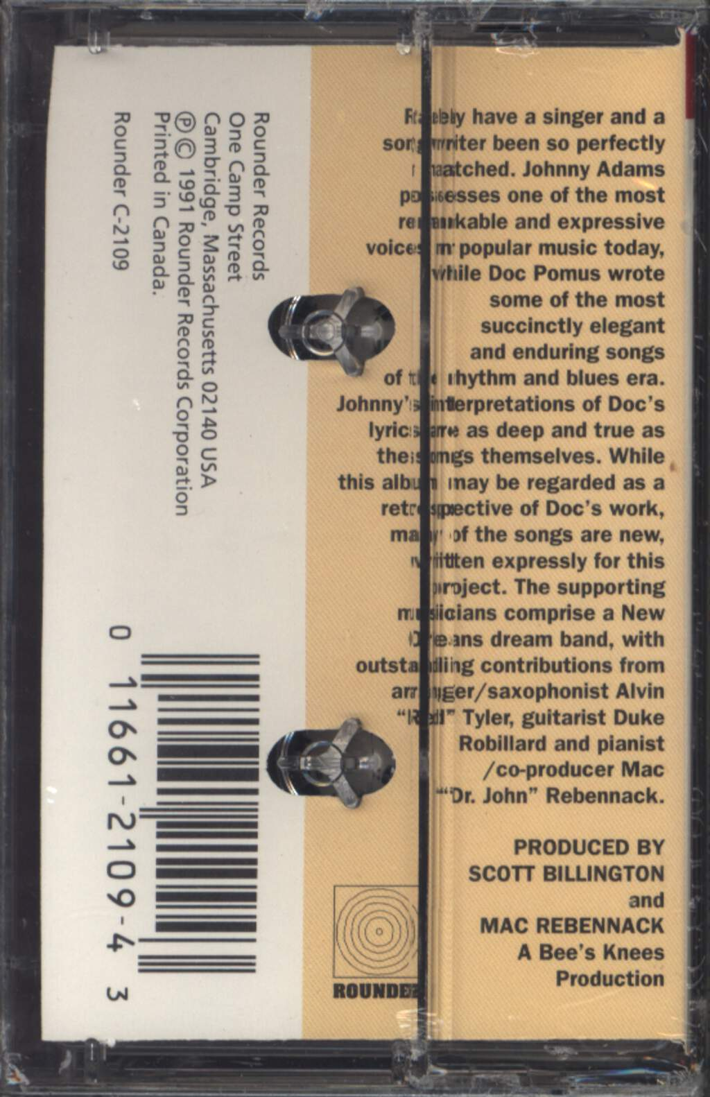 Johnny Adams: Johnny Adams Sings Doc Pomus: The Real Me, Compact Cassette