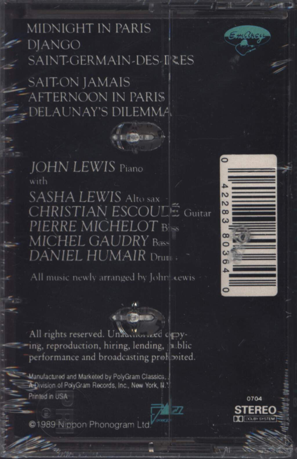 John Lewis: Midnight In Paris, Compact Cassette