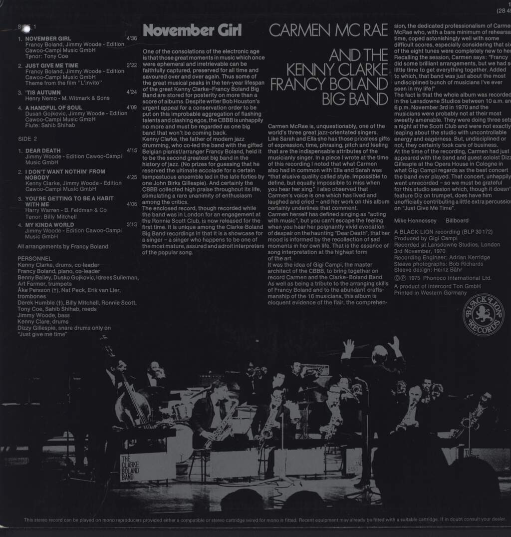 Carmen McRae: November Girl, LP (Vinyl)