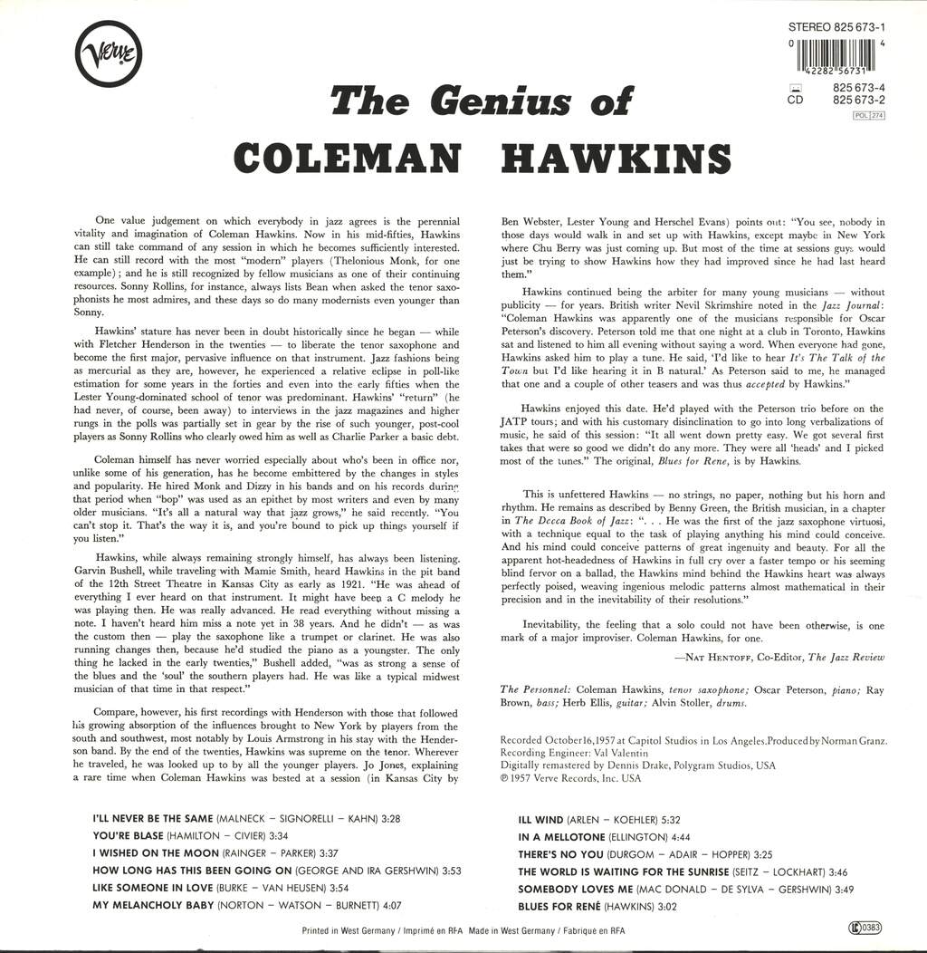 Coleman Hawkins: The Genius Of Coleman Hawkins, LP (Vinyl)