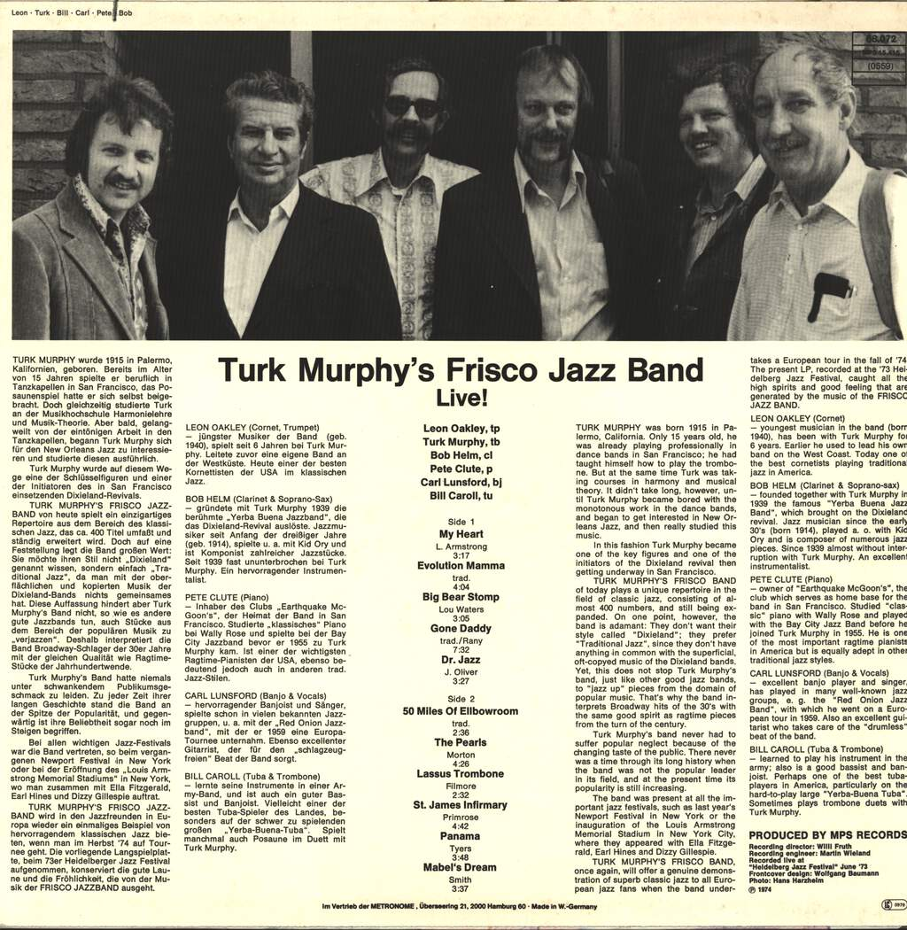 Turk Murphy's Jazz Band: Turk Murphy's Frisco Jazz Band Live!, LP (Vinyl)
